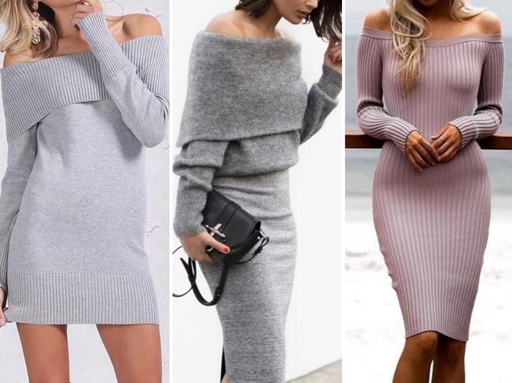 Облегающие трикотажные платья на осень