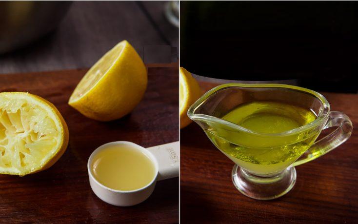 Iz limona otzhimayem 1 stolovuyu lozhku soka dlya salata.