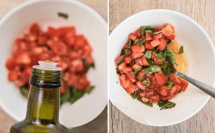 Lomtik belogo khleba, obzharennyy na grile i pripravlennyy chesnokom i maslom.