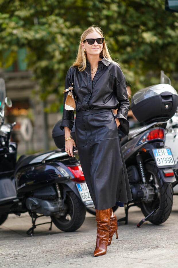 3 идеи с чем носить кожаную юбку от звезд стритстайла.1