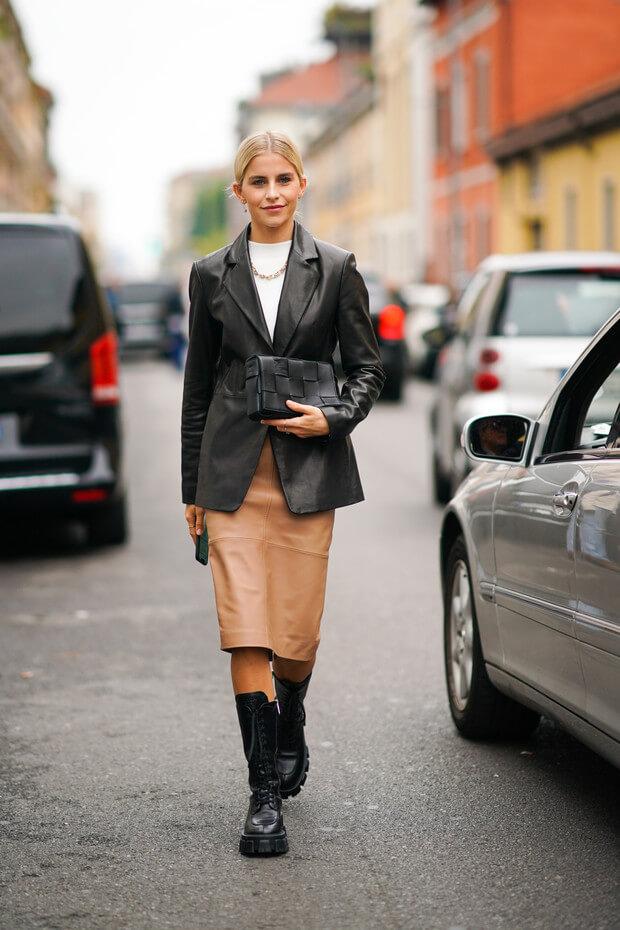 3 идеи с чем носить кожаную юбку от звезд стритстайла.2