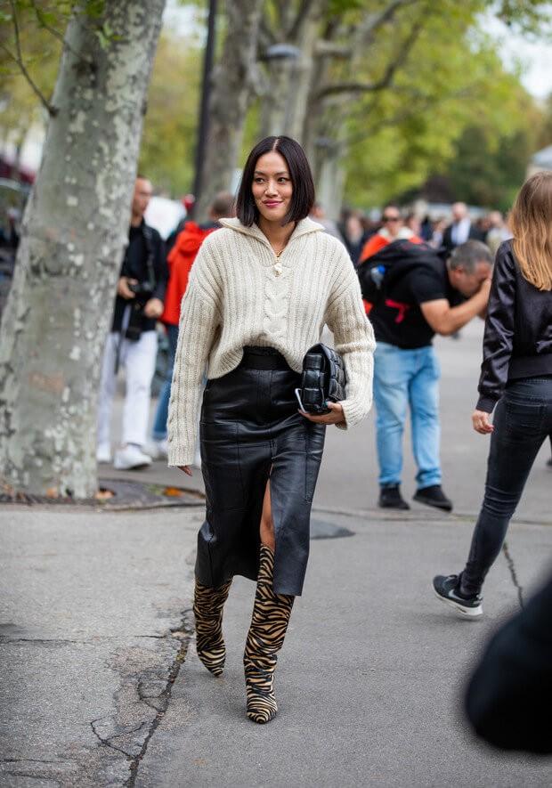 3 идеи с чем носить кожаную юбку от звезд стритстайла.3