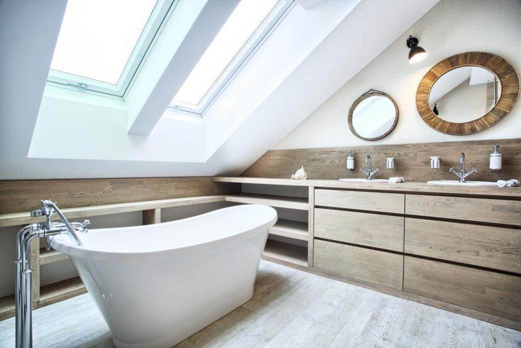 Дизайн ванной комнаты из дерева.10