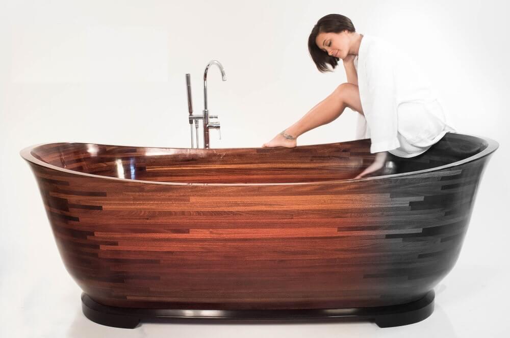 Дизайн ванной комнаты из дерева.11