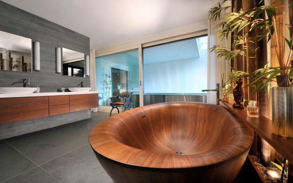 Дизайн ванной комнаты из дерева.2