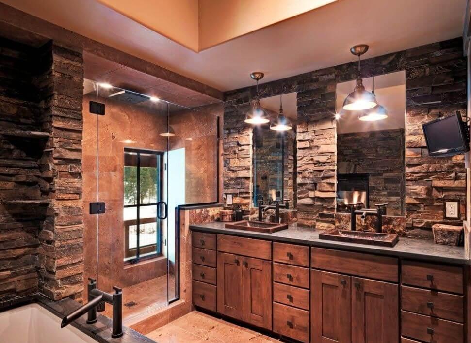 Дизайн ванной комнаты из дерева.3