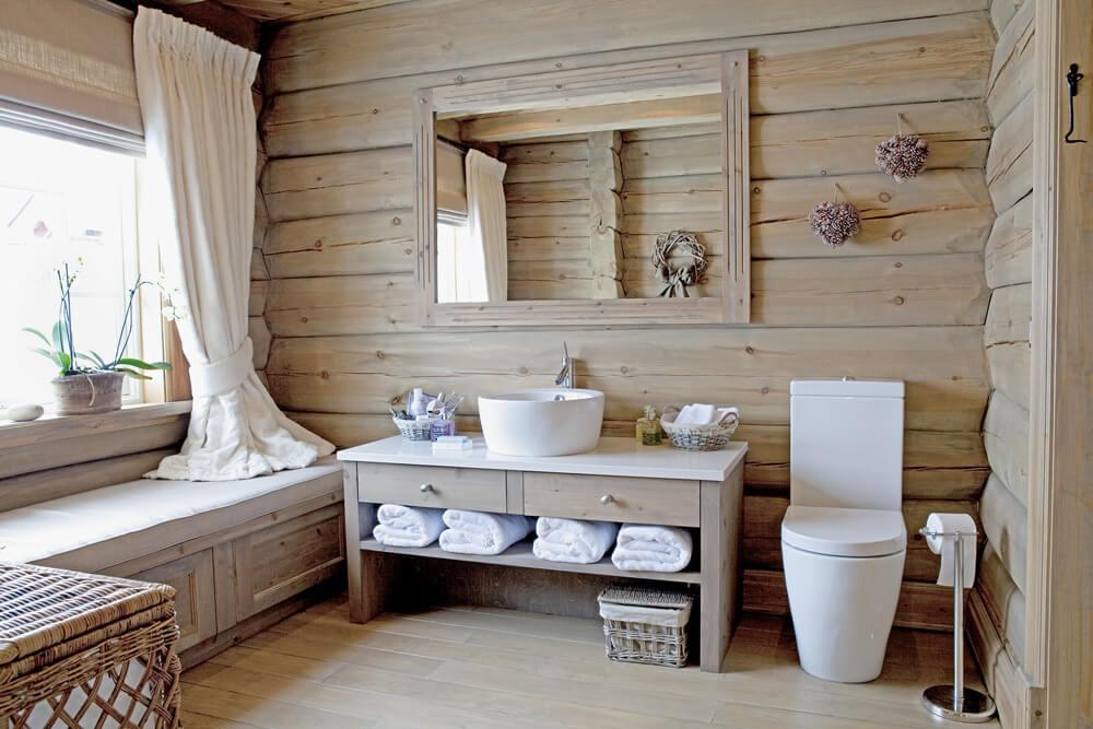 Дизайн ванной комнаты из дерева.4