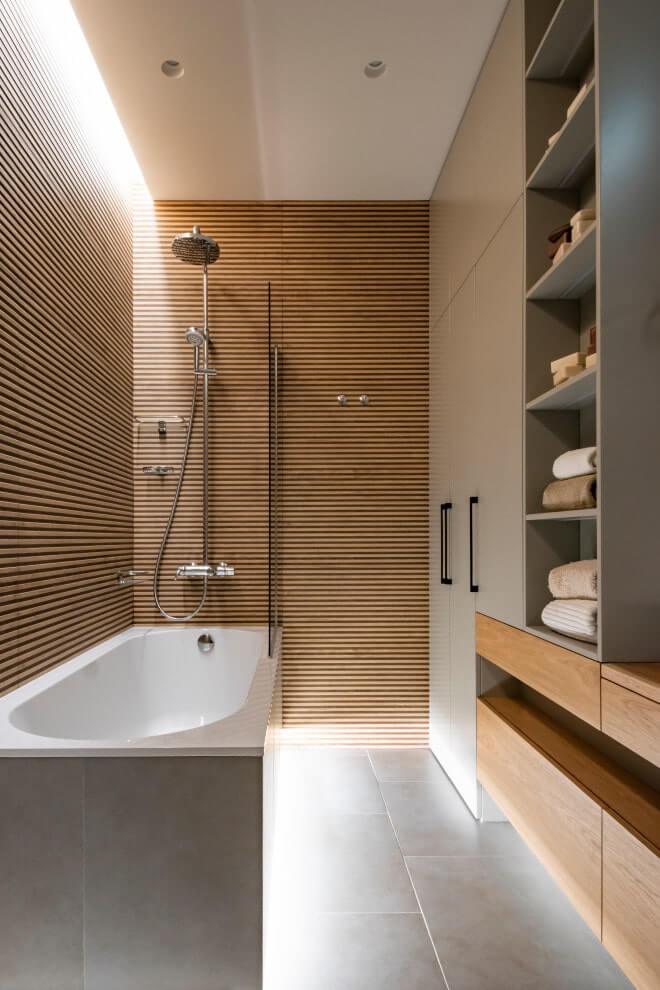 Дизайн ванной комнаты из дерева.7