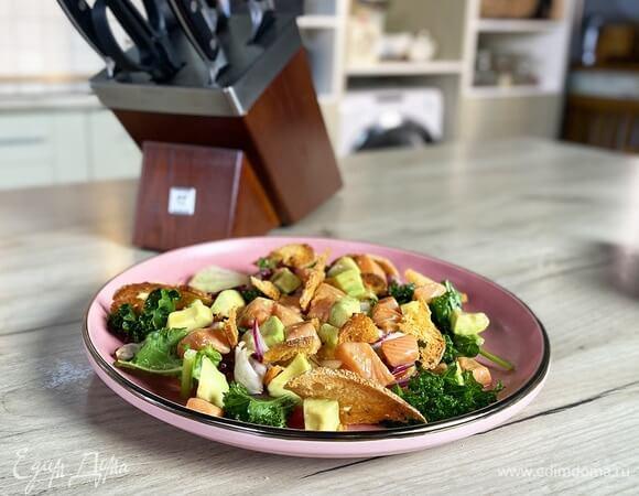 Вкуснейший салат с лососем в имбирном маринаде.1